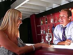 Blake Rose wants a free cocktail, so she seduces a cute barmen by showing her big yummy boobies. Moreover, she wants to taste his dagger. You need to see this cool blonde in action