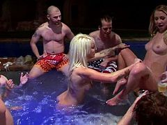 Slutty blonde Mandy Armani is having some good time with a lot of guys. She sucks their cocks hungrily and then lets the dudes drill her juicy pussy.