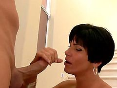 Christian is relaxing with gorgeous mature brunette woman Shay Fox. She is giving nice fellatio to the dude sucking the tool like a candy before standing in doggie  getting fucked