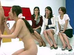 A kinky Japanese competition is taking place in a studio. A few girls show their handjob skills. The second round includes demonstrating cock-sucking abilities, and only one girl goes to the next tour.