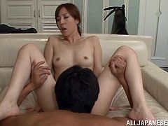 Kinky Japanese bitch gets fucked and fingered in a bedroom