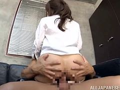 Stunning babe lifts her skirt up and gets fucked deep in her wet pussy right in the office. Then she also gets her mouth filled with cum.