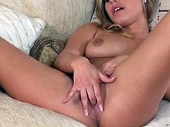 Sexy blonde babe Kennedy Leigh needed a nooner because she was so horny and since no one was around to help out she took matters into her own hands and fingered herself to orgasmic oblivion.