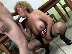 You may say about granny Renata that's she's a nice, good old lady. Nothing more false then that! Her big mouth is still eager for cock and that hairy pussy between her thighs gets filled just as much as it got in her youth. Renata rubs her cunt, gets it licked and then opens her mouth for cock
