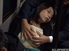 Sleepy Japanese girl gets her tits touched on a bus. After that she goes to the man's house and gets fucked there.