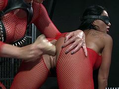 Christina Bella and Kathia Nobili wearing fishnet pantyhose are having some fun together. They play BDSM games and test their new toys.