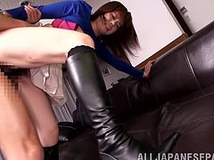 Adorable Japanese chick Airu Oshima lets her man eat and finger her pussy. Then they bang in various positions and Airu feels glad to get her cunt filled with jizz.