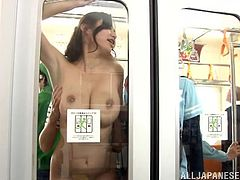 This smoking hot Japanese teacher gets caught by her class in the subway train and here is a traditional Japanese gangbang starts.