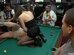 This is the place, where people come to play pool. But these girls came here to seduce some men and get nailed on the pool table.