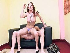 Brunette tranny sucks cock and gets fucked an