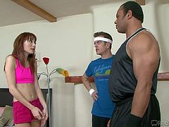 Dirty little girl Zoe Voss enjoys in teasing her two coaches Chad Diamond and Sledge Hammer on the bed in her bedroom and makes a pretty nasty threesome with them