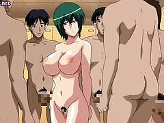 Anime slut gets jizzload on her round boobs