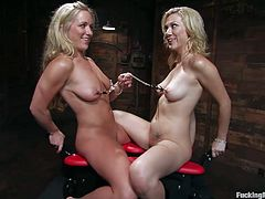 Get a load of this fucking machines scene where two kinky blondes have a great time pleasing one another with the help of machines.