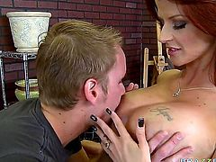 In order to make this dude super horny, MILF Joslyn James is more than ready to put her tatas to use and make his penis rock hard in no time.