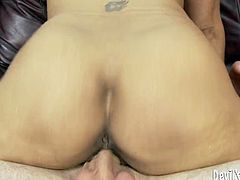 This brunette whore knows the meaning of hardcore. She spread her legs wide open to get her shaved pussy licked and after that fucked hard with a meaty cock.