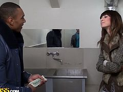 Black dude hooks up with seductive brunette Russian bimbos at the mall. They head to the public toilet where she kneels down to oral fuck his meety black dick.