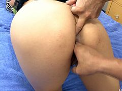 Fuckable Japanese harlow lays on her back while welcoming a thorough mauling of her small tits from two aroused fuckers. Later they proceed to finger fucking her unused asshole and bearded pussy in steamy group sex video by Jav HD.