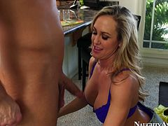 She is extremely seductive blonde girl with big boobs. She sits down on her knees working pretty mouth lips on a solid dick. Exciting porn clip presented by Naughty America.