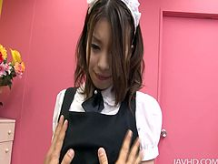 Nao is wearing tempting black lingerie and fishnet stockings. She sits on a couch with her legs wide open. She gets her pussy fingered and toy fucked in a steamy Jav HD porn video.