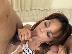 Dirty-minded light haired Japanese filth with natural tits has a burst of energy today. So dirty-minded chick stretches legs wide for getting her hairy cunt pleased with vibrators and then switches to sucking two cocks for sperm.