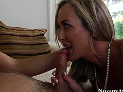 While her husband is busy at work slutty blond housewife does her best pleasing a neighbor. Ardent slut sucks his dick for cum and rides it as if there's no other chance to gain delight for her.