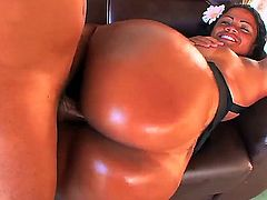Hot ebony whore Sandra Bum Bum is having a lot of fun sucking a big cock and showing off her magnificent ass, doing a spectacular blowjob and having her pussy drilled by a huge cock.