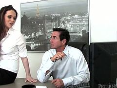 Fuckable office manager hooks up with overaged boss right into his office. She bares her big tits for oral strokes before she stands on her knees to mouth fuck his rod in pov sex session by Fame Digital.