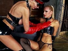 Horny lesbians Puma Swede and Sandy are getting naughty again. Puma explores Sandy's snatch and then fucks it with a toy.