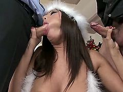 Handsome dudes seduce Angelica Heart to have threesome with them! The naughty slutty gal never misses a chance of being double penetrated and today is not the exception.