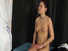 Gyno doctor helps her patient to reach peak