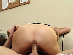 Voracious brunette whore Veronica is a horny boss who fucks her intern right in the office. She tops his dick riding it vigorously.