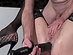 Extreme amateur wife has her ass and pussy fisted till their a gaping wreck and she pisses herself