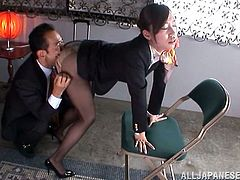 Slim Japanese girl in office clothes gets her sweet pussy licked. After that she gives a blowjob and gets fucked. She also gets a mouthful.