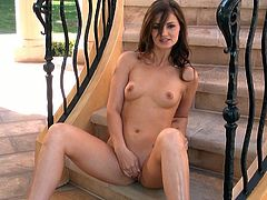 Adorable blue-eyed brunette stunner Lily Carter exposes her lovely tits and pussy for you and pleases herself with fervent pussy fingering.