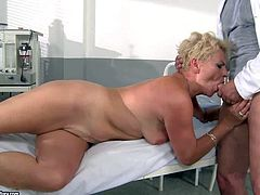 Short haired whorish blonde granny Helen with small tits gives head to turned on long haired doctor in white coat and fucked hard in various positions to heeling orgasmic feeling