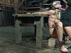 With tits tied up in ropes and mouth gaping open, Allie James gets her cute blonde face fucked extremely hard my her dominant master Matt Williams. Watch as he fucks her hard and face as she chokes on his dick and cough up spit.