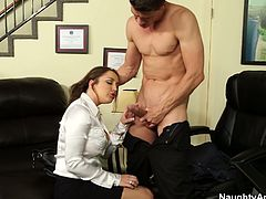 She is naughty bitch with gorgeous body shape. She pleasures her boss right in the office by sucking his dick deepthroat. Tasty Naughty America sex clip on anysex for free.