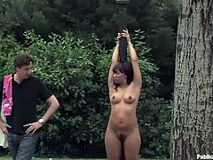 This porn scene is fucking full of disgrace. Sexy siren Dunia is being humiliated outdoors and in public, including that loud and dark night club.