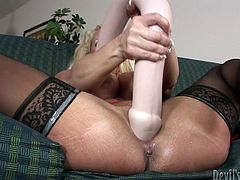 Fame Digital sex clip has prepared something special for you today. Just have a look at whorish and voracious wanker with huge boobs. This bitchie blondie has a gigantic dildo and stimulates her wet cunt passionately as if there's no tomorrow.