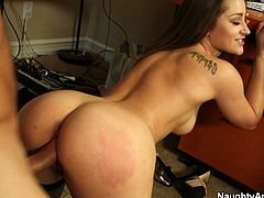 Lustful boss Dani Daniels loves to be fucked hard. So when she wants her office assistant to fuck her hard in doggy position, he fucks her forever.