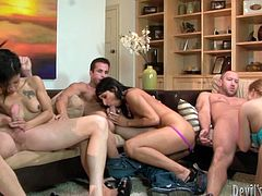 Three insatiable fuckers are waiting for arrival of cheap prostitutes. As soon as Russian hussies arrive, they take off their clothes in order to oral fuck sturdy dicks in front of each other in steamy group sex clip by Fame Digital.