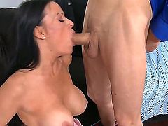 Chris Johnson is going to screw always ready to suck mouth, nice massive juggs and clean shaved cock-hungered pussy of Vanilla Deville. Milf gets a lot of enjoyment!