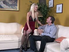 Voracious hoe with stunning body shape is flirting with mature guy. She seduces him by rubbing her wet panties right in front of him. Then she kneels down to give him an awesome deepthroat blowjob.