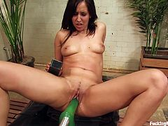 Watch this babe trying out these machines as you have the pleasure of jerking off while she moans and sighs.