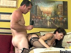 Fame Digital sex clip presents a really voracious and whorish brunette. This pale slut has no other dream than to ride a strong cock for orgasm. Horn-mad chick jams her tits heavily while jumping on the tool and groans of pleasure.