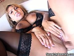 She is horny MILF bitch with gorgeous body. She is rammed bad in a missionary position bouncing her big boobs. Then she is hammered hard doggy style.