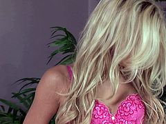 Hot blondie Franziska Facella uses her dildo to make herself happy