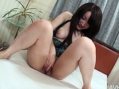 Dirty Asian hoe doesn't mind playing kinky sex games. So she lets the guy squeeze her firm nipples. Then she serves her pussy for passionate finger fuck.