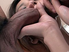 Cum is what kinky and horny brunette needs to be pleased. Spoiled chick with nice tits enjoys being fingerfucked. Wondrous girlie likes being fed with cum. So she sucks the cocks without hesitation. Just look at voracious slut in Jav HD sex clip and you'll jizz without any doubts.