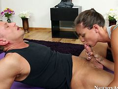 She is fit and sexy girl who goes horny and dirty during yoga period. She is assisting the guy in stretching exercises that leads to passionate cock sucking action.